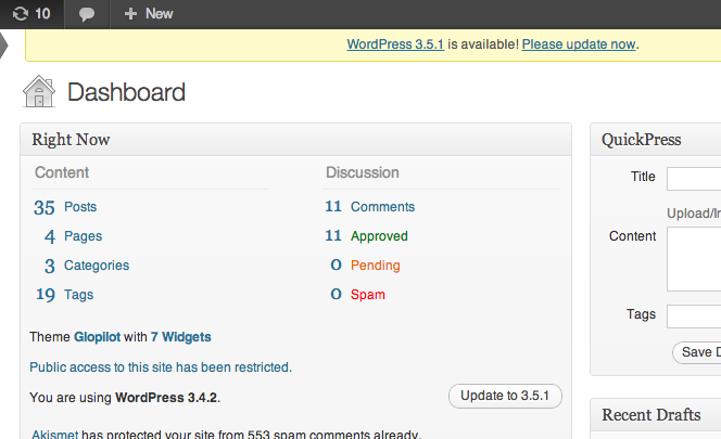 Your WordPress site will alert you to the need for an update when you are logged in to your control panel.